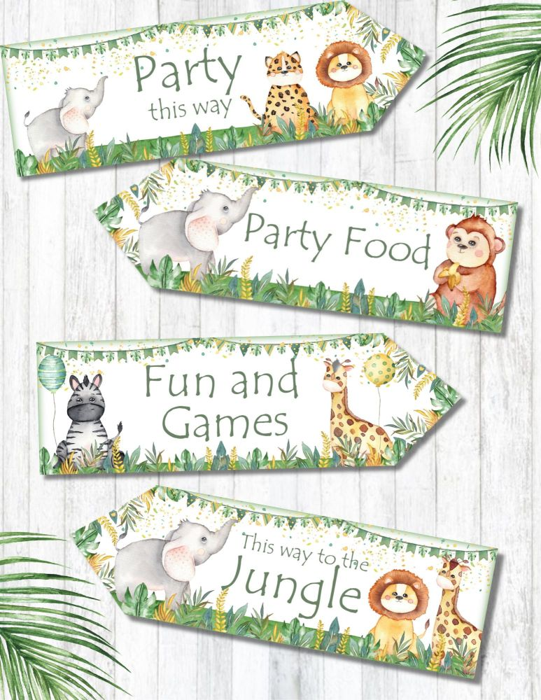 Set of 4 Jungle Safari Party Decoration Arrows