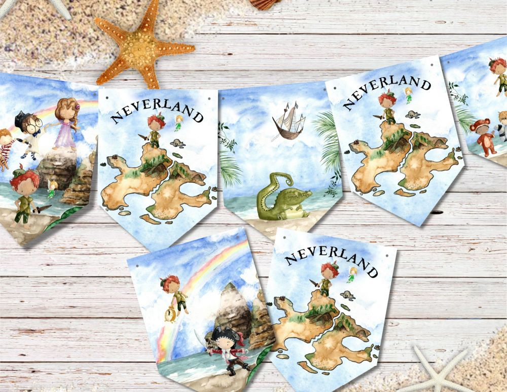 Neverland Peter Pan Bunting Banner & Ribbon - 8 Flags