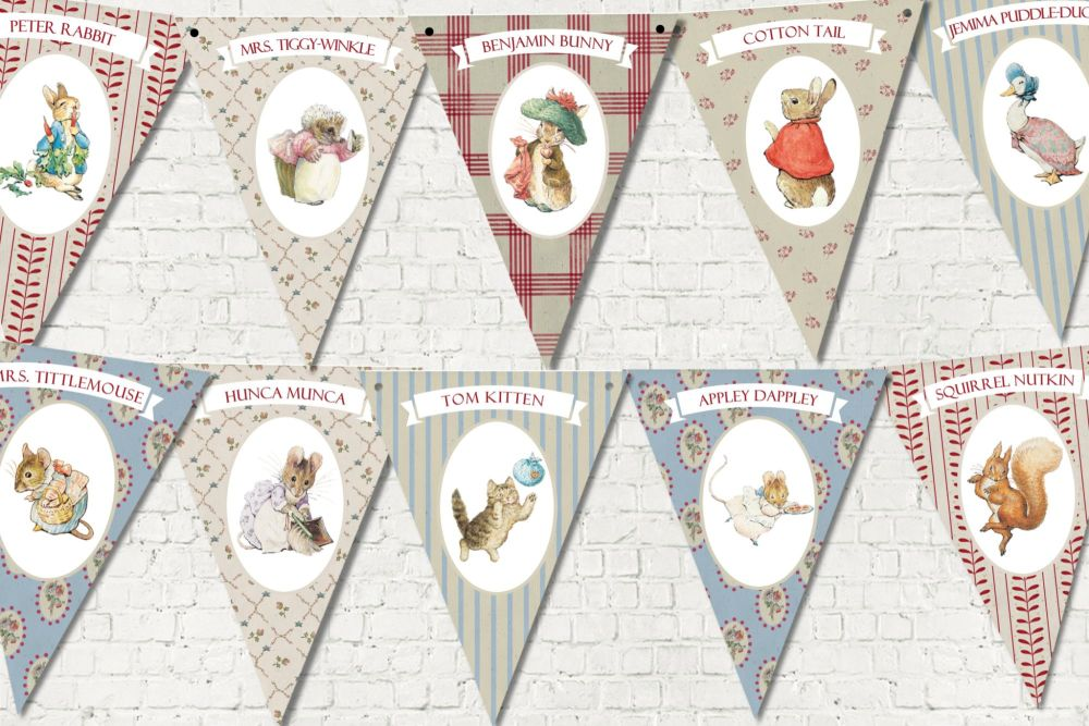 3m Beatrix Potter Peter Rabbit Vintage Print Style Bunting/Banner & Ribbon