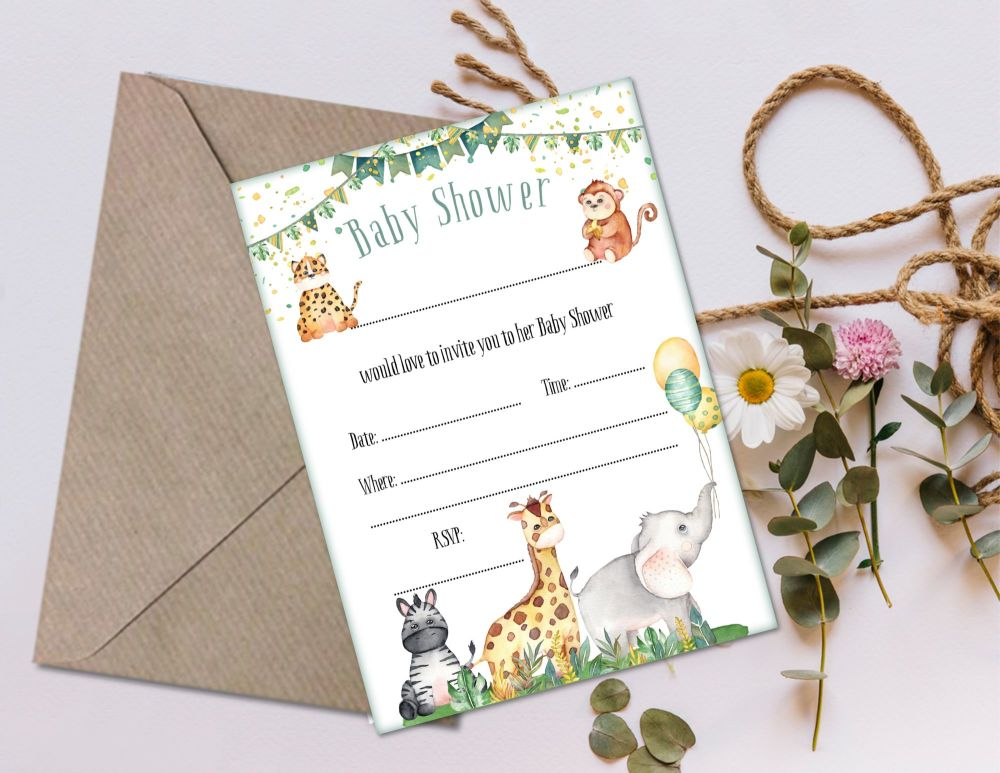 6 Jungle Safari Baby Shower Invitations & Envelopes