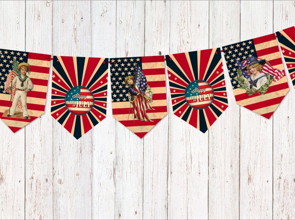 American Independence Day July 4th Party Decoration Bunting/Banner & Ribbon