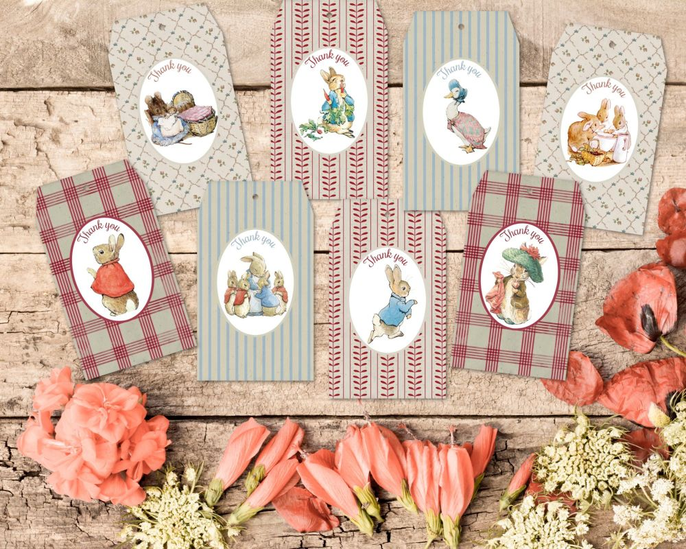 8 Vintage Style Beatrix Potter Peter Rabbit Thank you Gift Tags & Ribbon