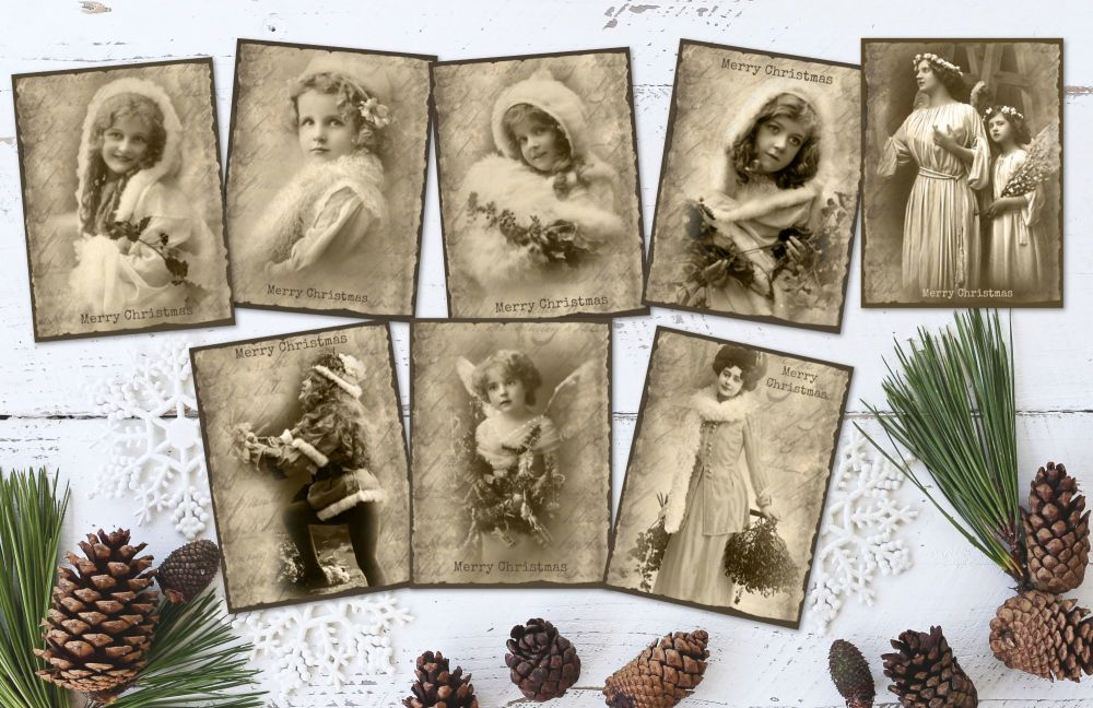8 Vintage Beauties Photographs Christmas ATC Tags/Toppers