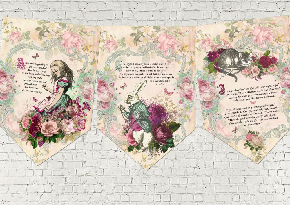Alice in Wonderland Story Book Party Bunting/Banner & Ribbon