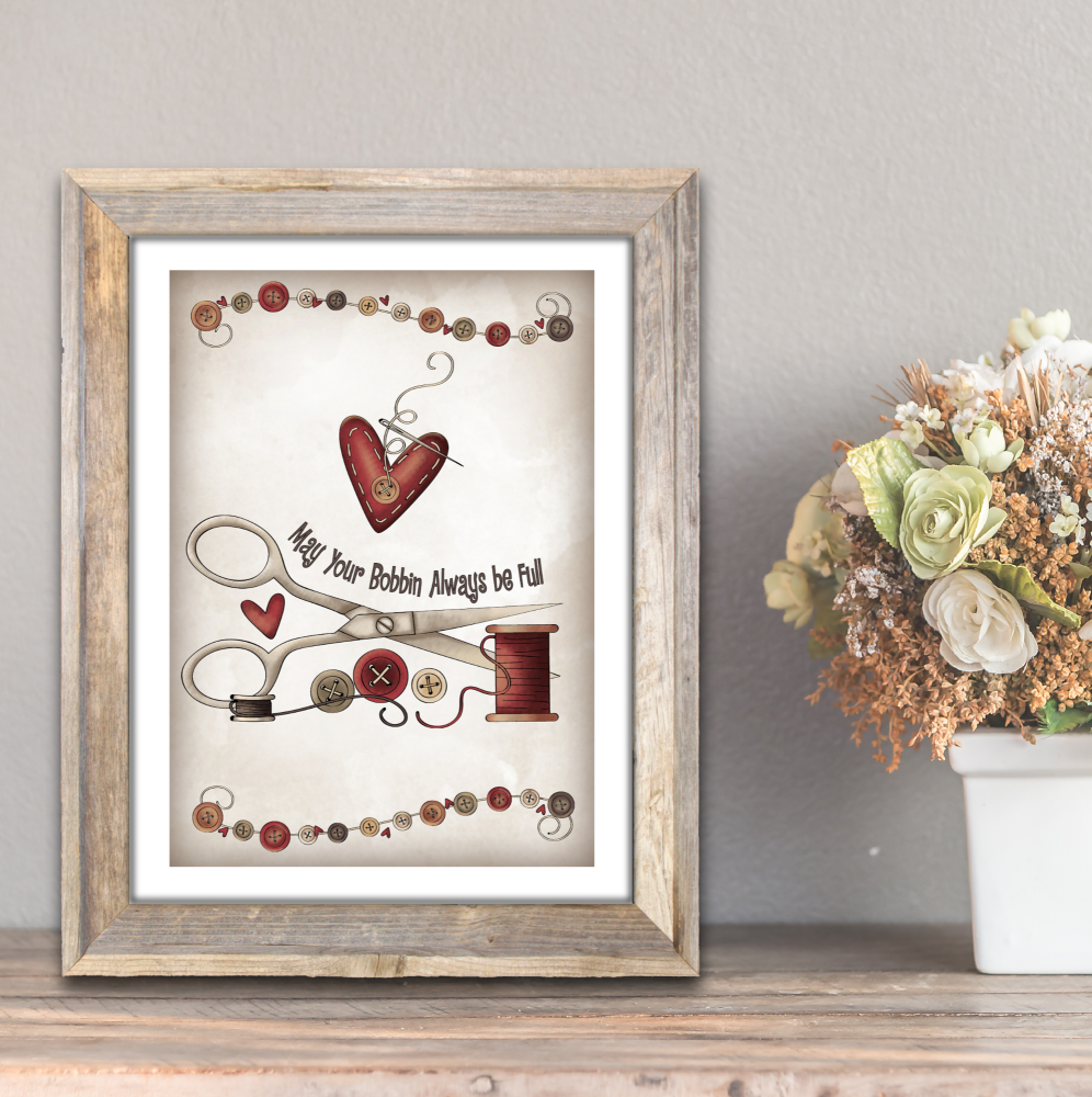 Primitive Style Sewing Room A4 Card Wall Art Print