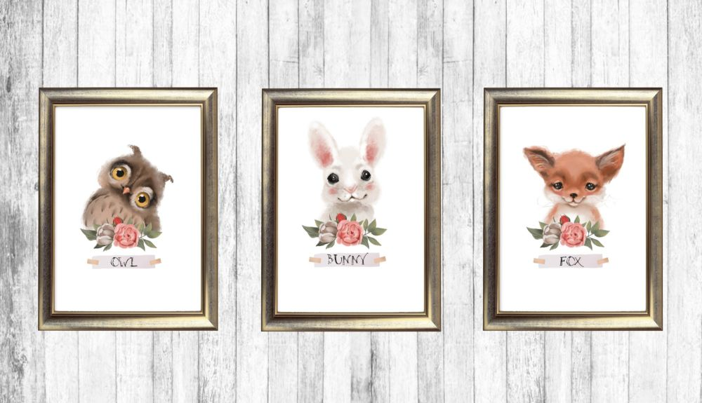 Set of 3 Woodland Forest Nursery Wall Art Print Signs - Frames Not Included