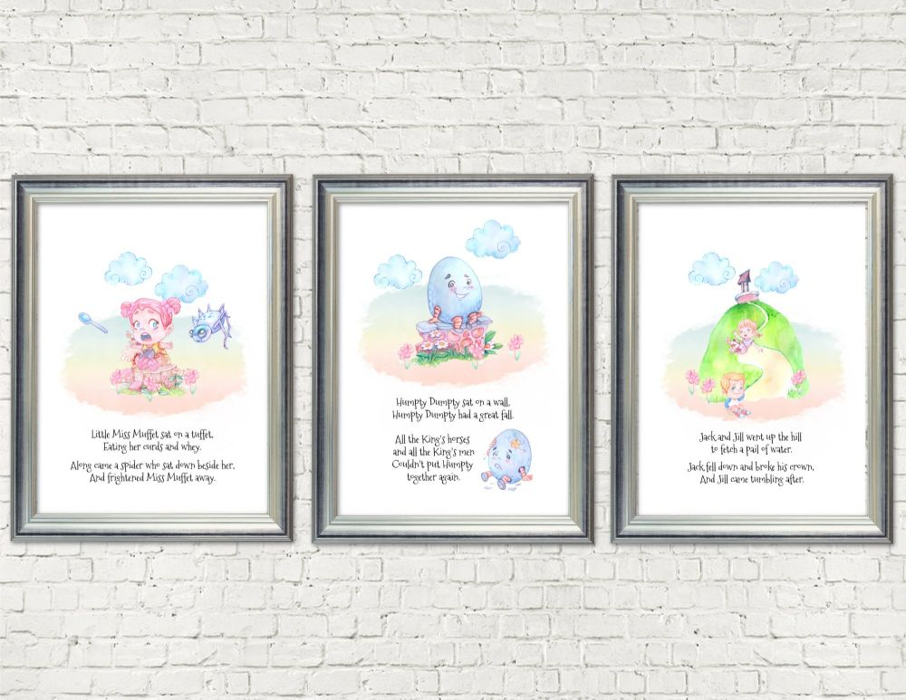 Set of 3 Nursery Rhyme A4 Card Wall Art Print Signs - Frames Not Included