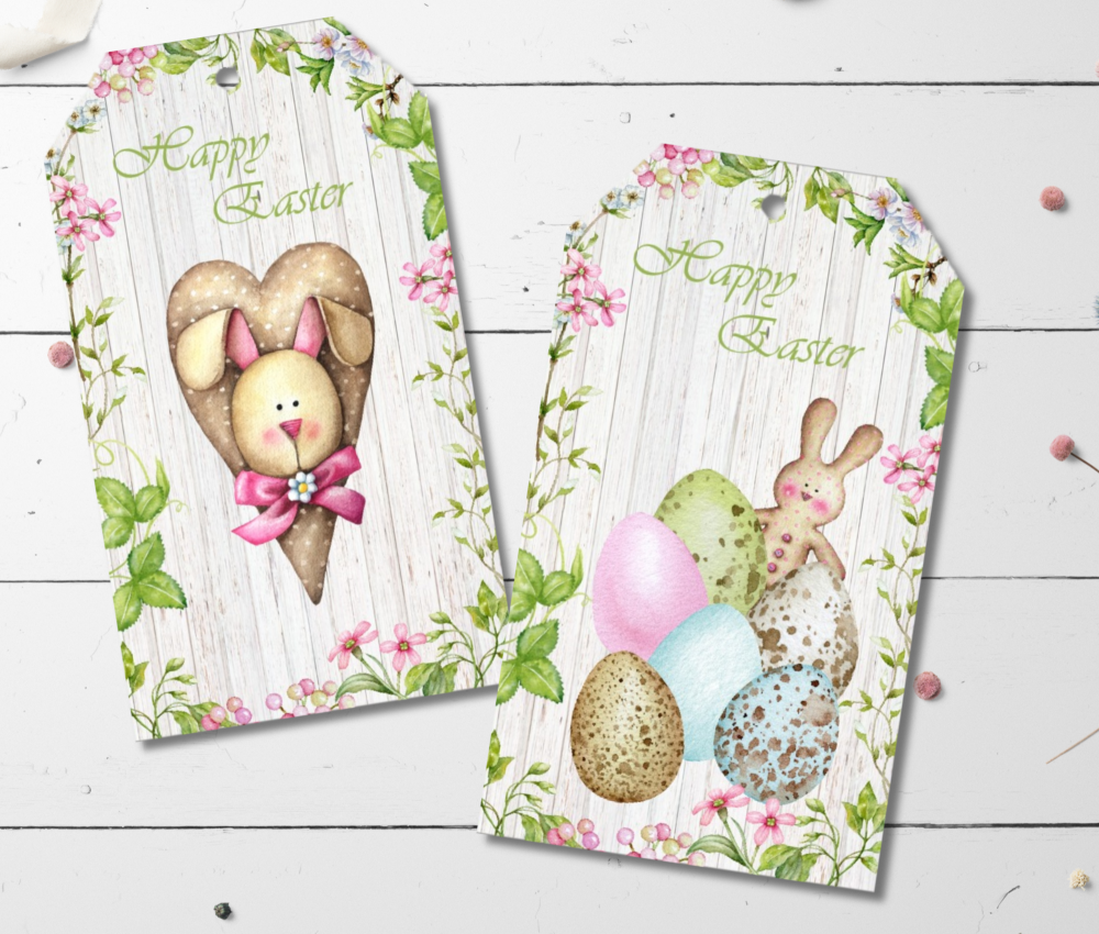 6 Spring Blossom Easter Gift Tags & String