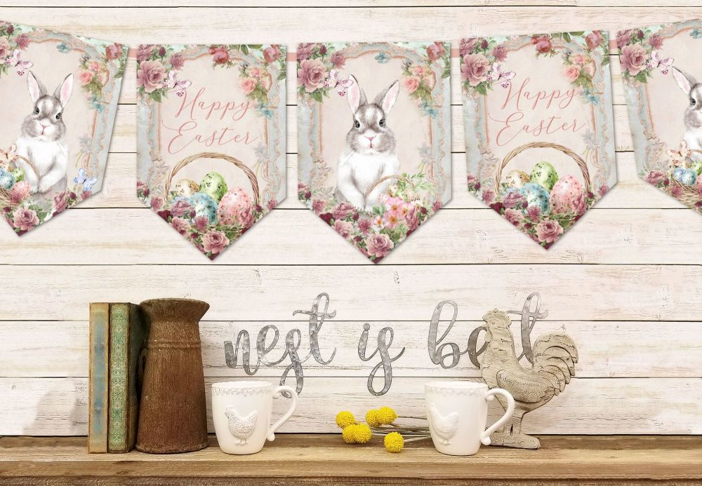 Vintage Floral Easter Bunny Bunting & Ribbon