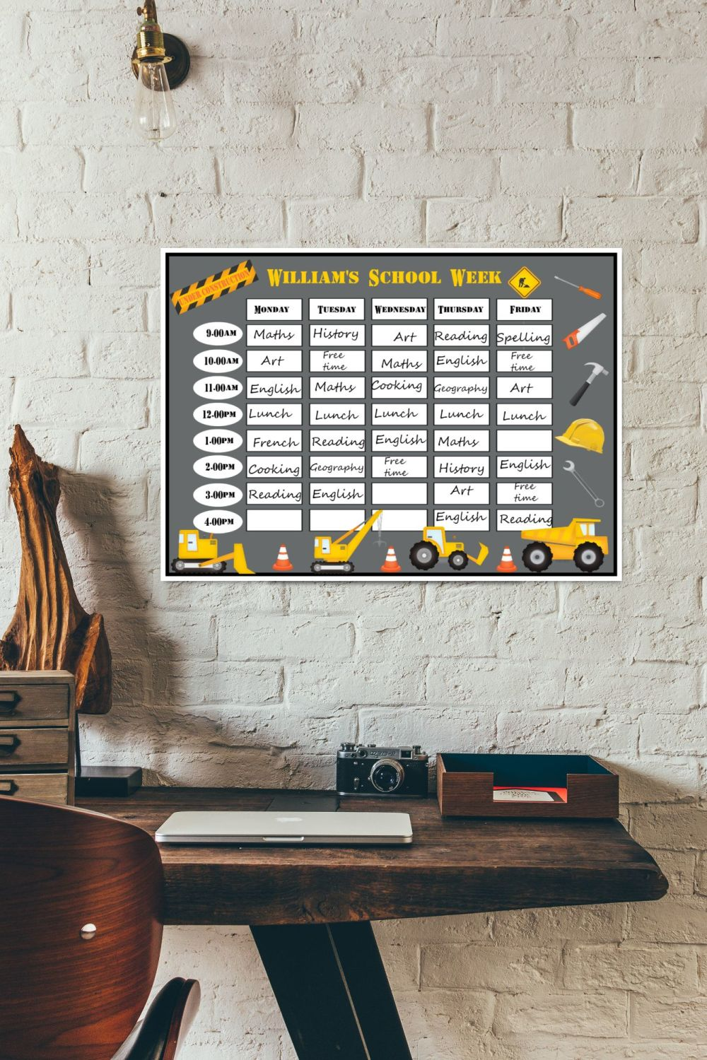 Personalised Laminated Re-usable Construction Home School Planner Schedule