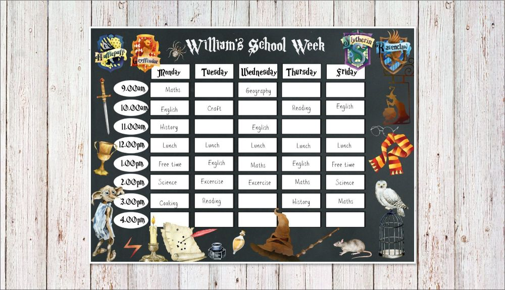 Personalised Laminated Harry Potter Home School Planner Schedule & Pen - A4