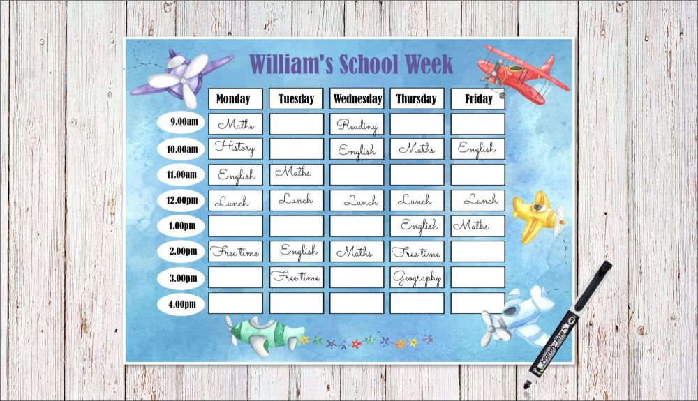 Personalised Laminated Re-usable Aeroplanes Home School Planner Schedule & Pen - A4