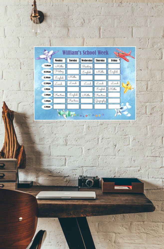 Personalised Laminated Re-usable Aeroplanes Home School Planner Schedule & Pen - A3
