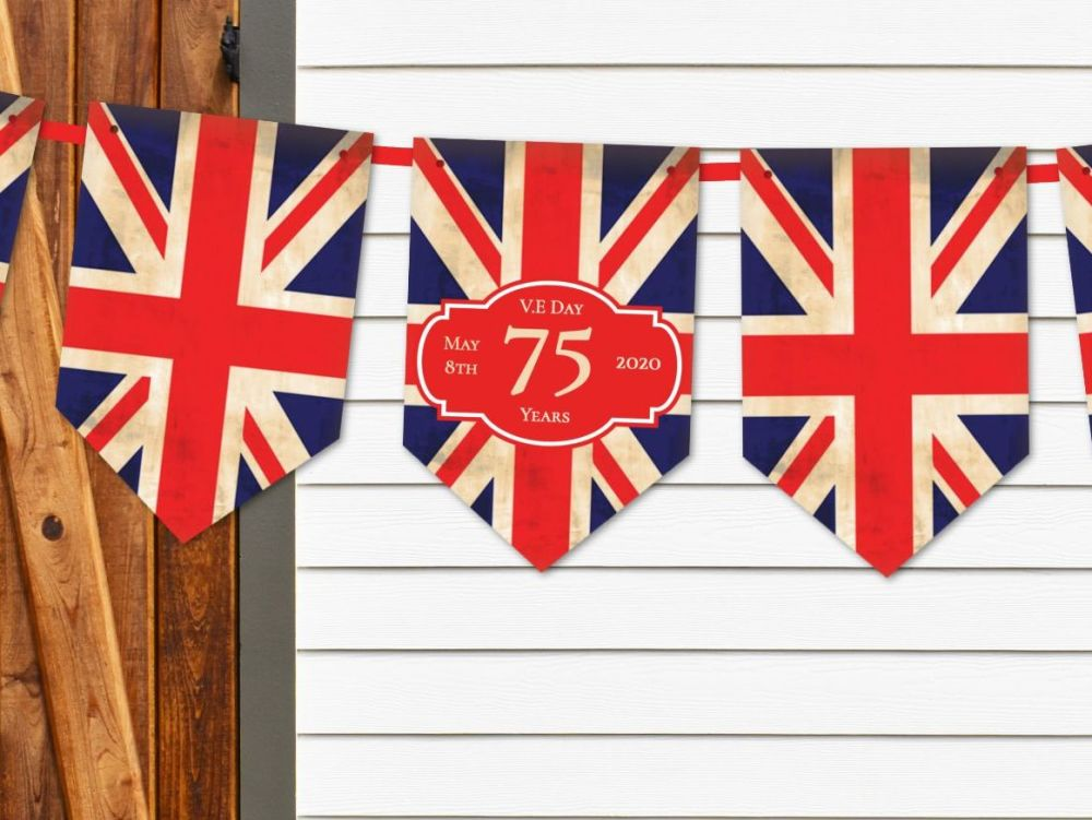 Vintage Style Union Jack V.E Day 75 Years Celebration Bunting & Ribbon