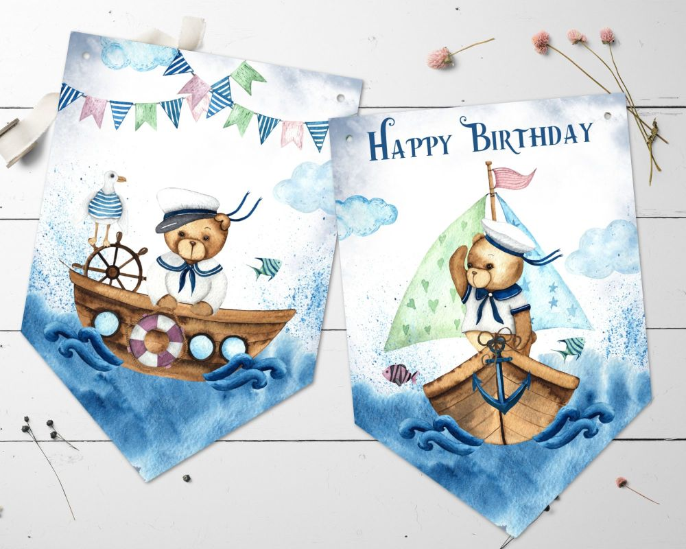 Cute Nautical Little Sailor Teddy Bear Happy Birthday Bunting & Ribbon
