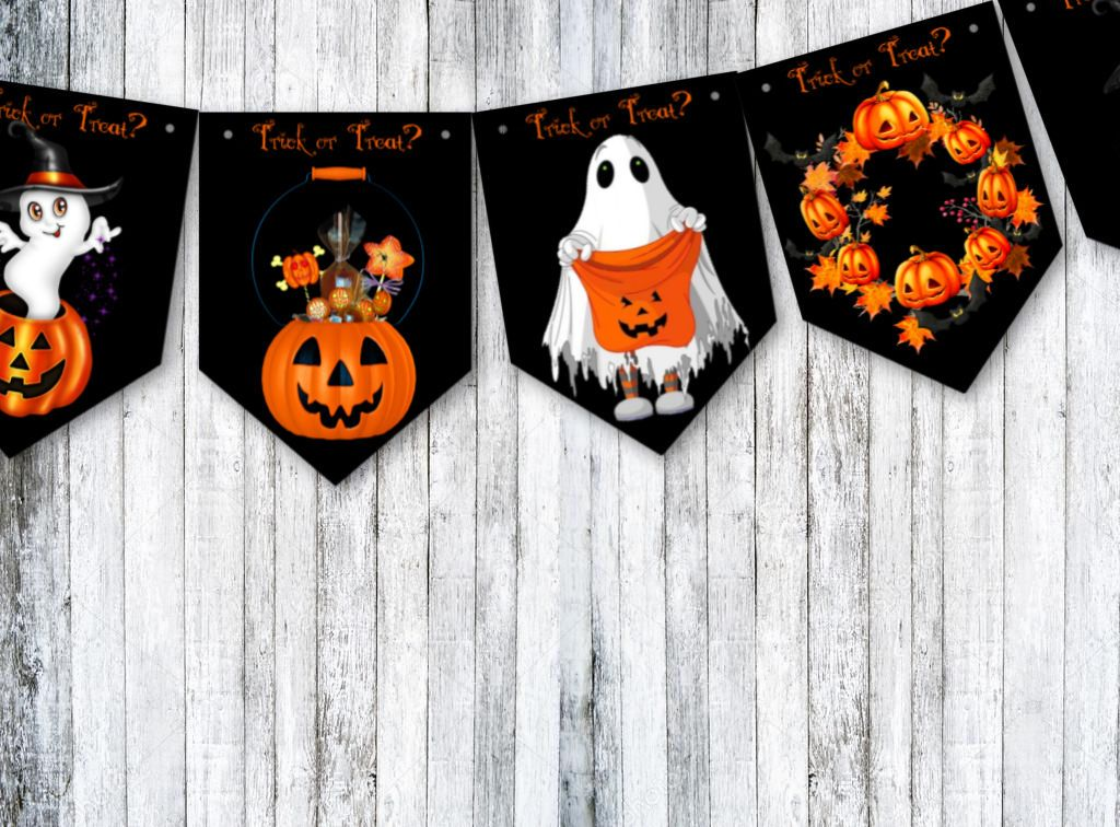 Halloween Trick or Treat Bunting Party Decoration & Ribbon