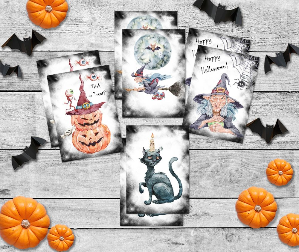 8 Witches Halloween ATC Cards Tags Embellishments