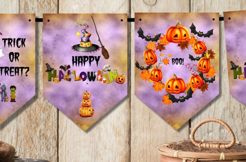 Happy Halloween Bunting Party Decoration & Ribbon