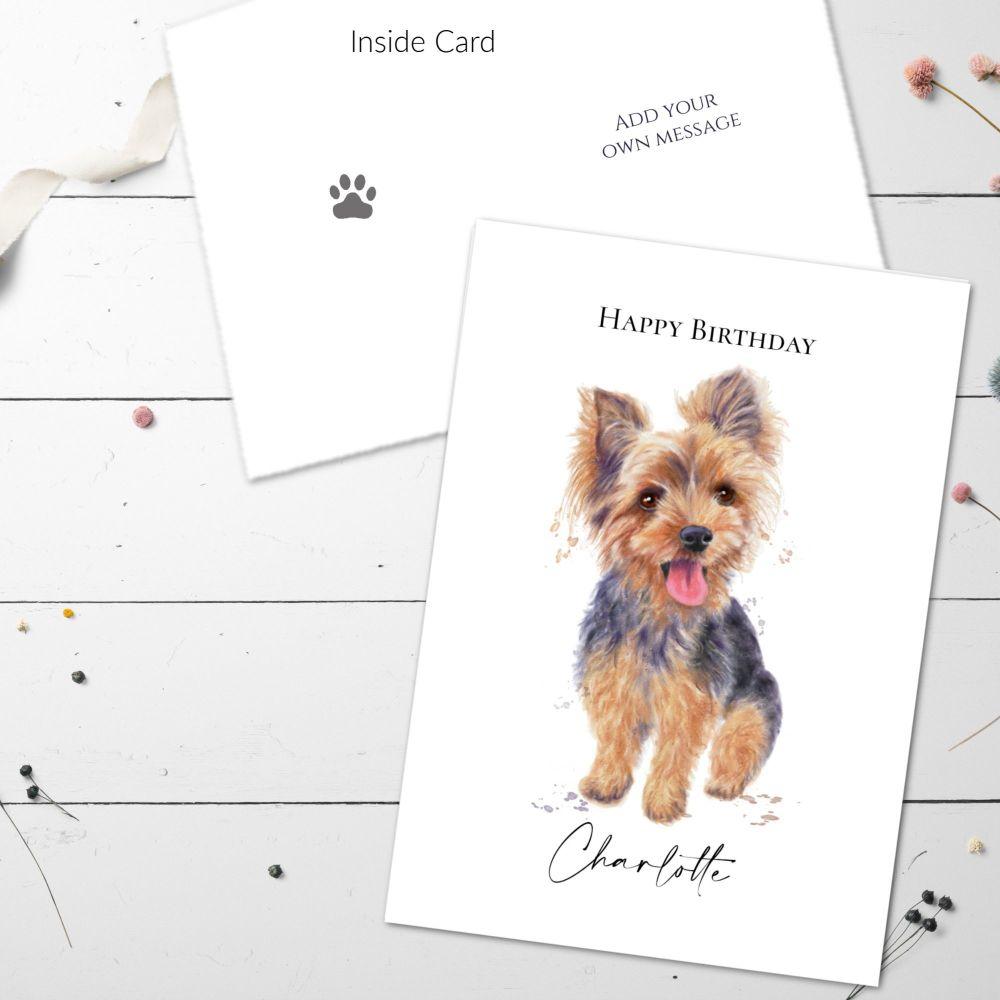 Personalised Yorkshire Terrier Dog Birthday Greetings Card & Envelope