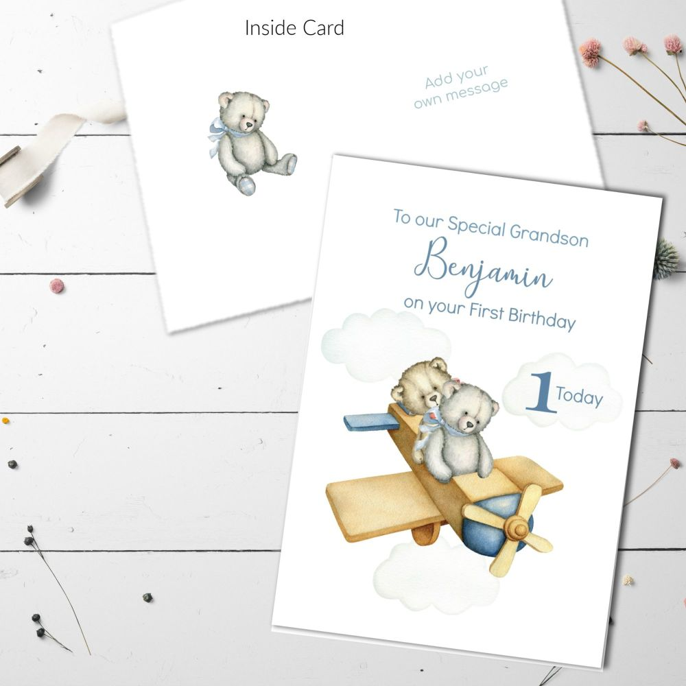 Personalised Aeroplane Teddies 1st Birthday Card - Son, Grandson, Daughter,