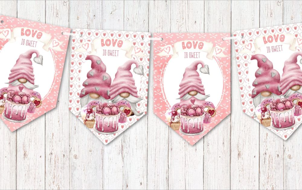 Love is Sweet Pink Gnome Valentine Banner Bunting Wedding Engagement Decoration
