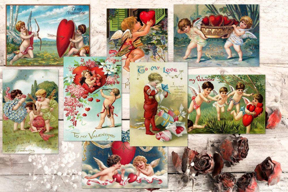 8 Vintage Valentine Cupids ATC Cards Tags Embellishments