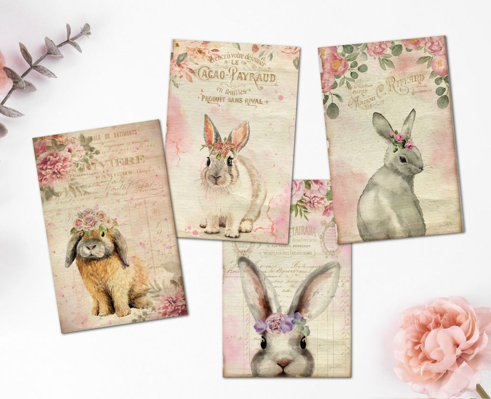 8 Easter Bunny Rose Floral ATC Tags/Toppers