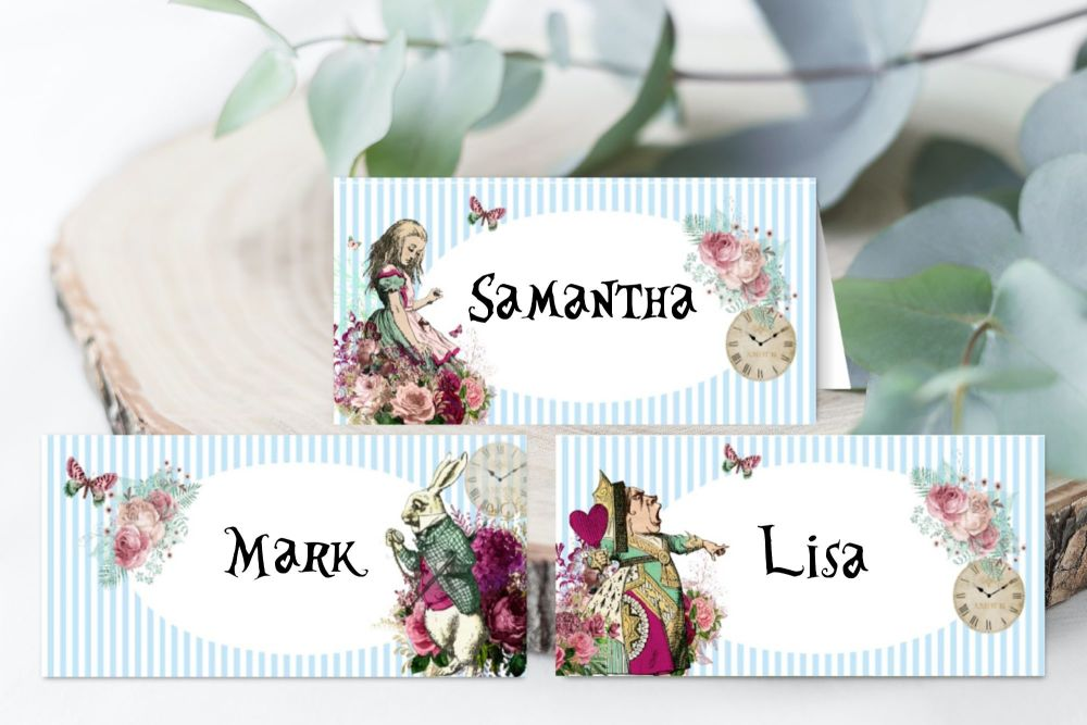 6 Alice in Wonderland Mulberry Personalised Food or Table Place Name Cards