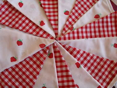 Strawberry Fabric & Red Gingham Check Cotton Bunting