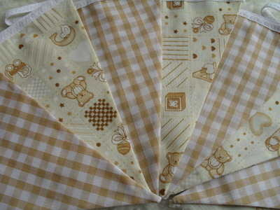 Coffee & Cream Baby Nursery Teddy Bear Fabric Bunting