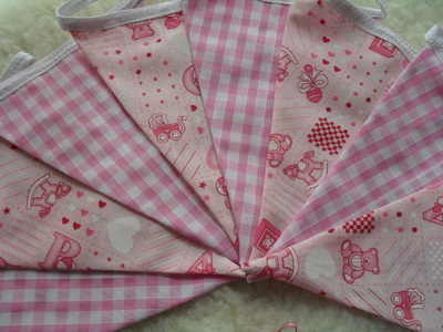 Pink Baby Nursery Teddy Bear Fabric Bunting