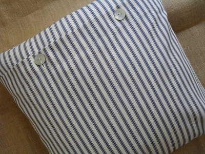 Blue & Soft White/Cream Striped Ticking Cushion Cover