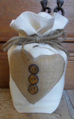 Cream Cotton Fabric Door Stop With Hessian Heart Applique and Wooden Button