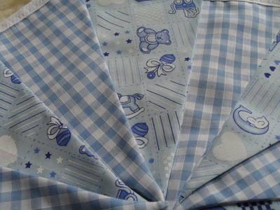 Blue Baby Nursery Teddy Bear Fabric Bunting