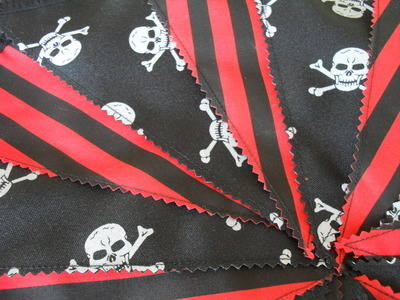 Black/Red & White Fabric Pirate Party/Bedroom Bunting