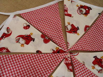 Jolly Santa & Gingham Fabric Christmas Bunting