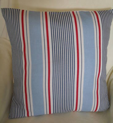 Clarke & Clarke Sail Stripe Marine Cotton Fabric Cushion Cover