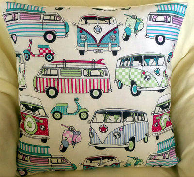 'Happy Campers' Cream Fabric Cushion Cover With Candy Turquoise Camper Vans