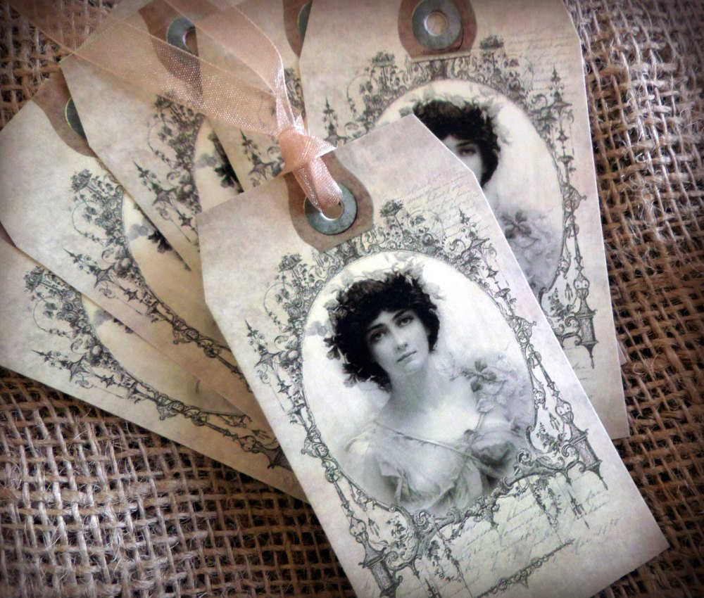 Set of 6 Vintage Lady Tags/Toppers/Embellishments