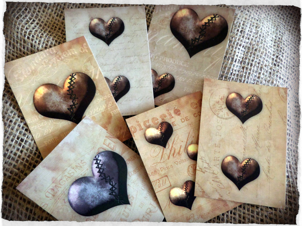 Set of Six Vintage Steampunk Hearts Style Tags/Toppers/Embellishments