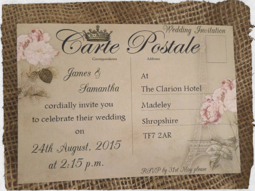 5 Personalised Vintage Paris Themed Postcard Wedding Invitations