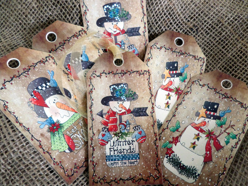 Set of 6 Large Primitive 'Winter Friends' Snowmen Christmas Gift Tags and R