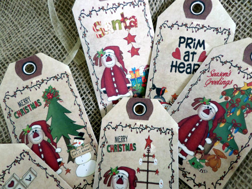 Set of 6 Large Primitive 'I Love Snow' Christmas Gift Tags With Ribbon