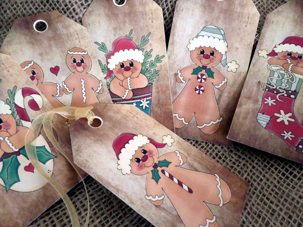 Set of 6 Large Primitive Gingerbread Man Christmas Gift Tags With Ribbon