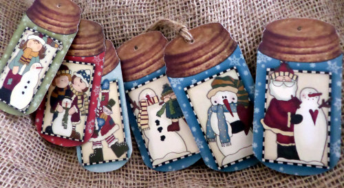 Set of 6 Large Primitive Mason Jar Christmas Gift Tags With String