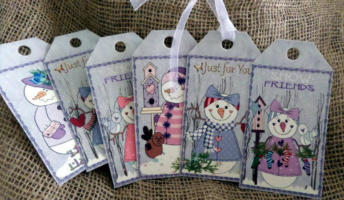 Set of 6 Large Primitive 'Snow Friends' Christmas Gift Tags With Ribbon