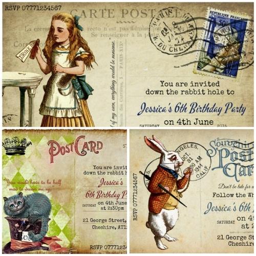Alice in Wonderland Personalised Party/Wedding/Christening Invitation & Env