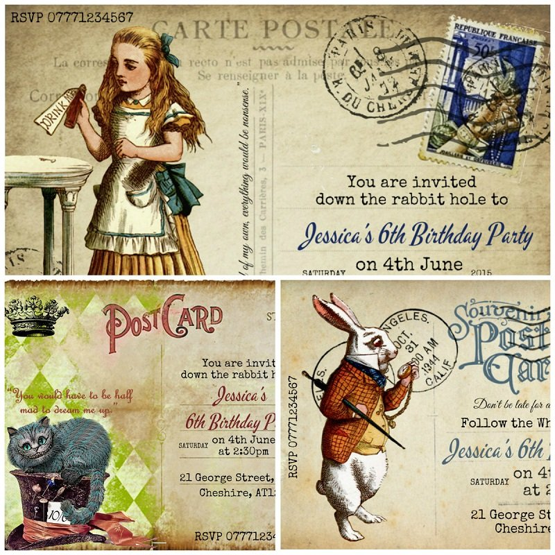 Alice in Wonderland Personalised Party/Wedding/Christening Invitation & Env