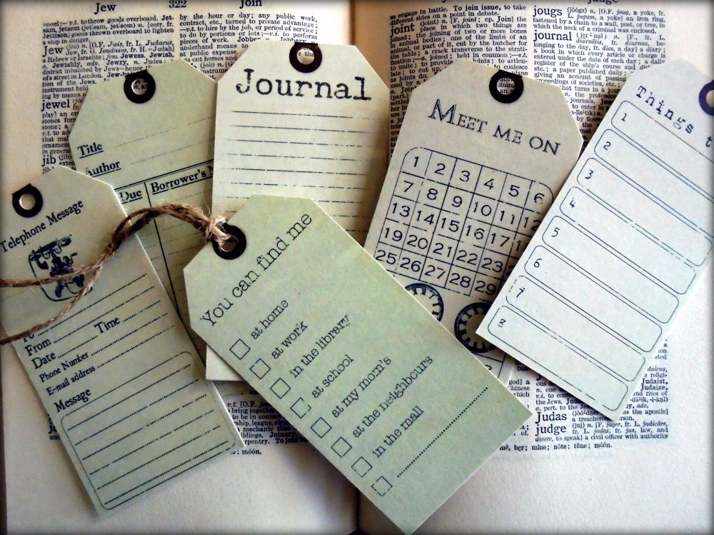 6 Office/Journal Vintage Style Tags