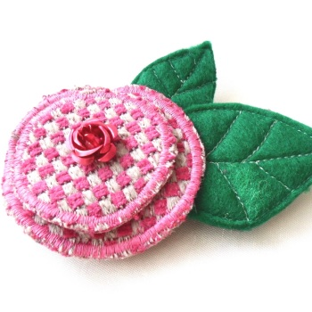 'Wild Rose' fabric Brooch